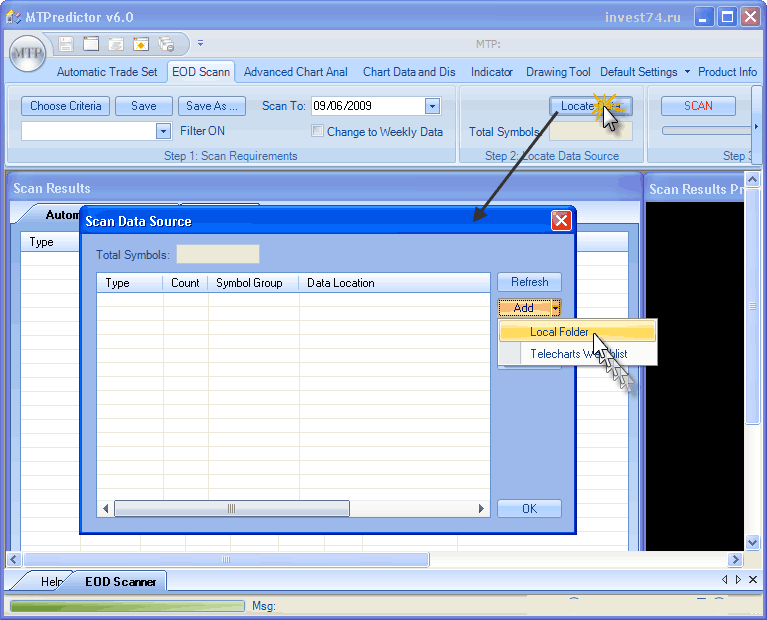 MT Predictor v6 настройка папки с данными для анализа